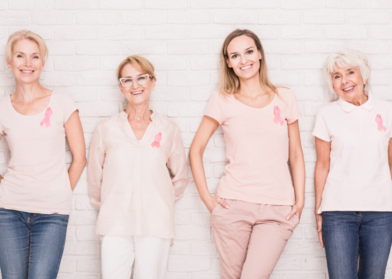 Smiling women of different ages encouraging mammograms for breast cancer screening