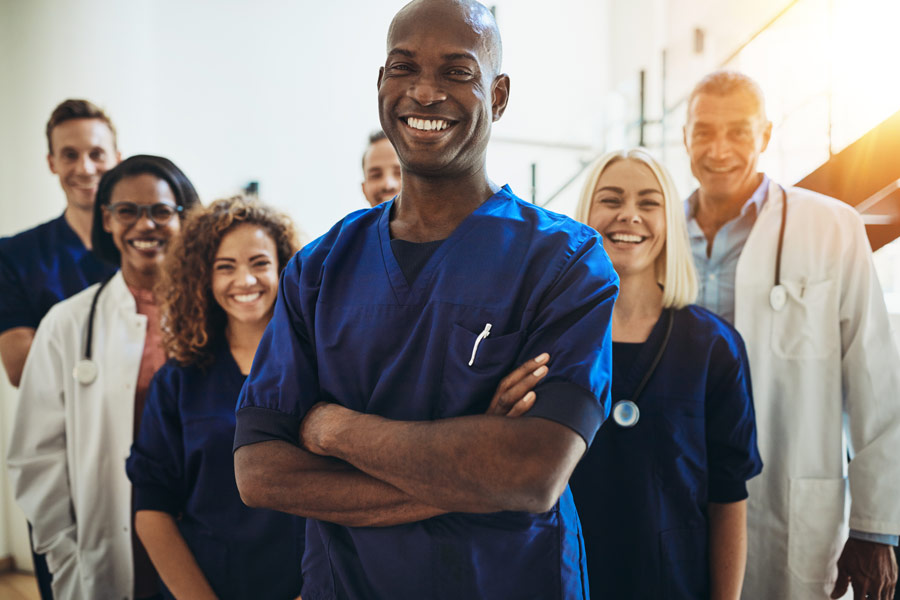 Team of smiling healthcare providers